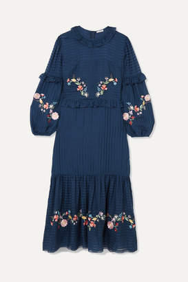 Vilshenko Adeline Embroidered Cotton And Silk-blend Maxi Dress - Navy