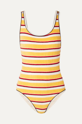 Solid & Striped The Anne-marie Striped Cotton-blend Terry Swimsuit - Yellow