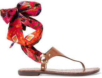 Sam Edelman - Giliana Leather And Printed Satin Sandals - Tan $90 thestylecure.com