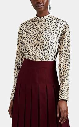 Calvin Klein Women's Oversized Leopard-Print Silk Faille Blouse - Beige
