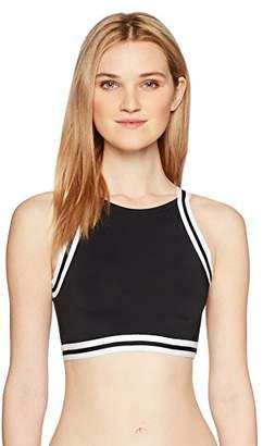 Hobie Junior's Sporty Stripe High Neck Bikini Top