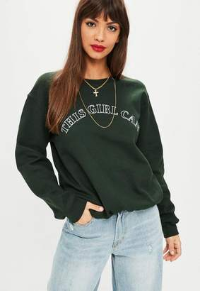 Missguided Green This Girl Can Sweatshirt
