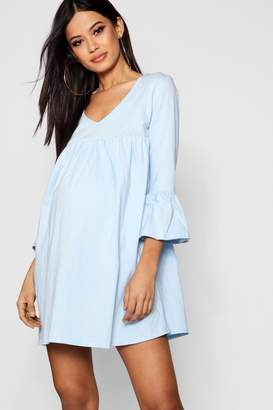 boohoo Maternity Ruffle Sleeve Smock Dress