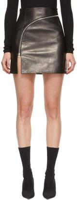 Alexander Wang Black Leather Curved Zipper Miniskirt