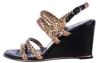 Chanel Metallic Leather Wedges