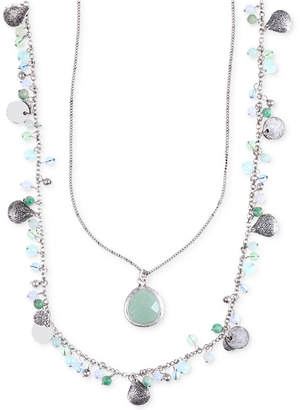 lonna & lilly Silver-Tone Two Layer Beaded Pendant Necklace