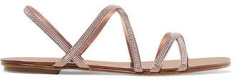 Pedro Garcia Sarabel Swarovski Crystal-embellished Satin Sandals - Beige