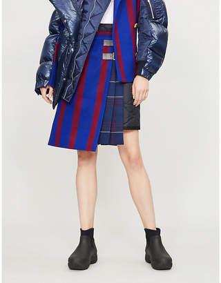 Sacai Hybrid contrast-panel wool-blend skirt