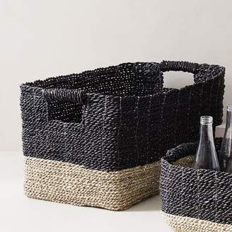 west elm Two-Tone Woven Baskets - Black/Tan