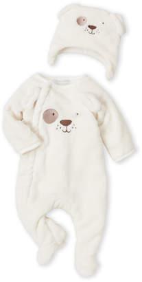 Absorba Newborn Boys) Two-Piece Ivory Puppy Plush Footie & Hat Set