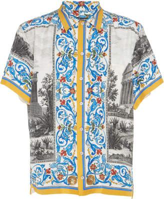 Dolce & Gabbana Multi-Print Short-Sleeve Button-Up Shirt