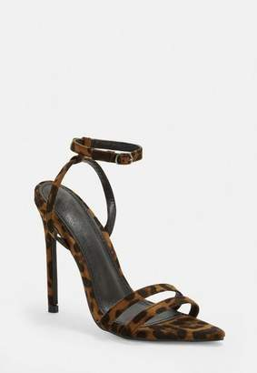 Missguided Brown Leopard Print Point Toe Barely There Heels, Leopard