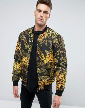 Versace Bomber Jacket In Tiger Print