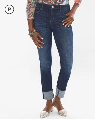 So Slimming Petite High Cuff Girlfriend Ankle Jeans