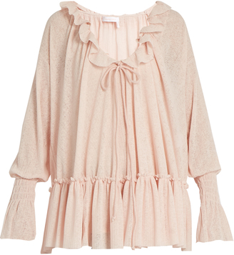 SEE BY CHLOÉ Ruffle-trimmed gauze-jersey blouse $208 thestylecure.com