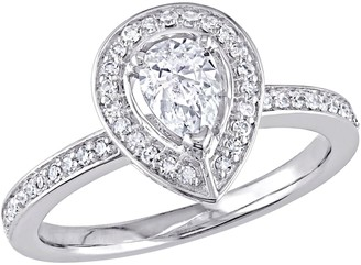 Affinity Diamond Jewelry Affinity 14K Gold 6/10 cttw Pear-Shaped DiamondHalo Ring