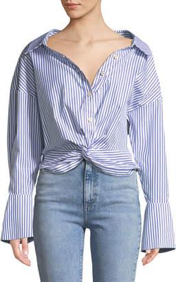 Caroline Constas Kos Open-Neck Button-Down Tie-Front Striped Top