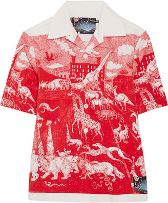 Prada - Printed Cotton-poplin Shirt - Red