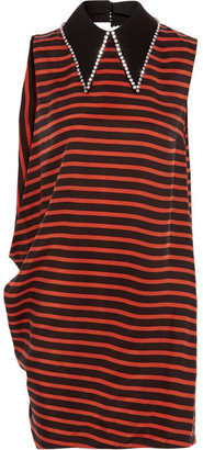 McQ Alexander McQueen - Crystal-embellished Striped Twill Mini Dress - Red $550 thestylecure.com