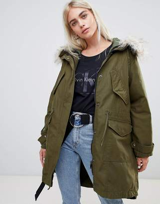 Asos DESIGN Oversized Parka With Quilted Liner