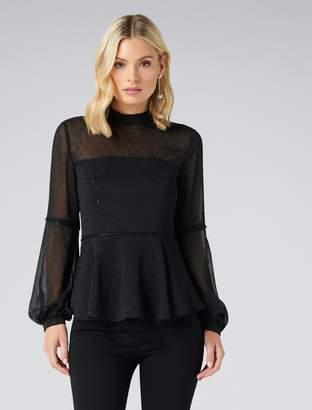 Forever New Anya blouson sleeve bodice blouse - Black. - 6