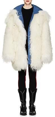 Calvin Klein Women's Reversible Shearling Oversized Coat - Azure White