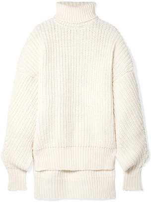 Awake Oversized Cutout Wool Turtleneck Sweater - Cream