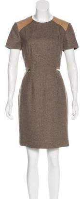 Blumarine Leather-Trimmed Virgin Wool Dress