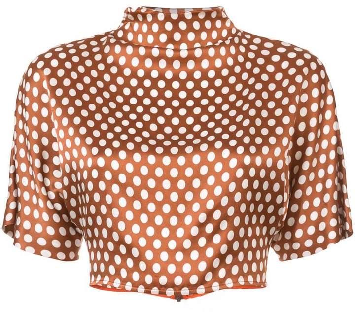 polka dot cropped blouse
