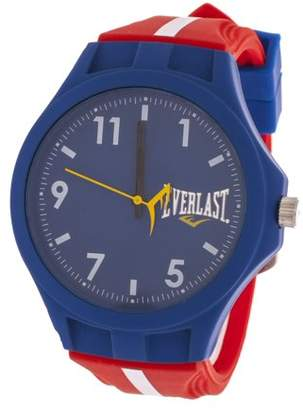 Everlast Men's Round Analog Sport Fashion Watch with Red Rubber Strap