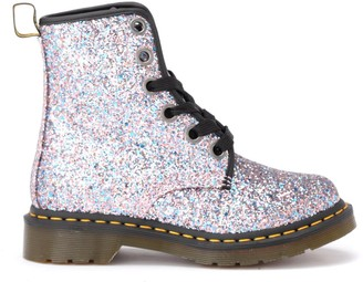 Dr. Martens Amphibious Boot Model 1460 In Multicolor Glittery Leather