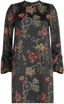 Rosetta Getty Embroidered Satin Shift Dress