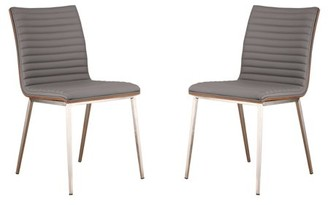 Armen Living Cafe Brushed Stainless Steel Dining Chair, Gray with Walnut Back, Set of 2
