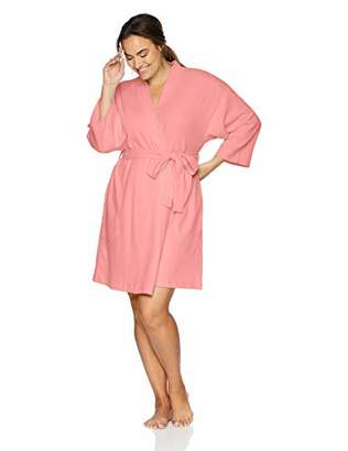 Arabella Women's Plus Size Knit Waffle Wrap Robe