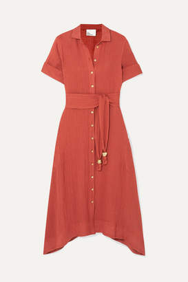 Lisa Marie Fernandez Belted Linen-blend Gauze Dress - Papaya