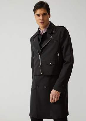 Emporio Armani Biker Overcoat In Stretch Virgin Wool And Mohair
