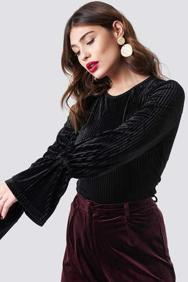 Na Kd Party Striped Velvet Long Sleeve Top Black