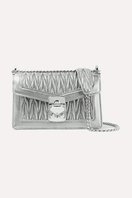 Miu Miu Metallic Matelassé Leather Shoulder Bag - Silver