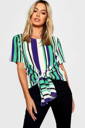 boohoo Petite Woven Stripped Tie Front Blouse
