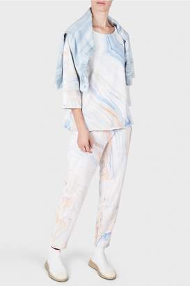 Raquel Allegra Purple Waves Marble Print French Terry Cropped Trousers