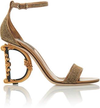 Dolce & Gabbana Logo Heel Lurex Sandals
