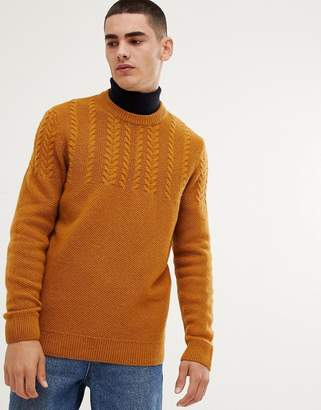 Barbour Crastill lambswool cable crew neck jumper in mustard