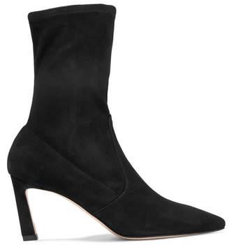 Stuart Weitzman Rapture Suede Sock Boots - Black