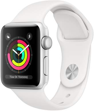 AppleWatch Series3 GPS, 38mm Silver Aluminum Case with White Sport Band