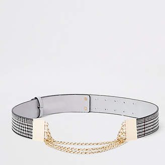 River Island Grey check snake chain waist belt