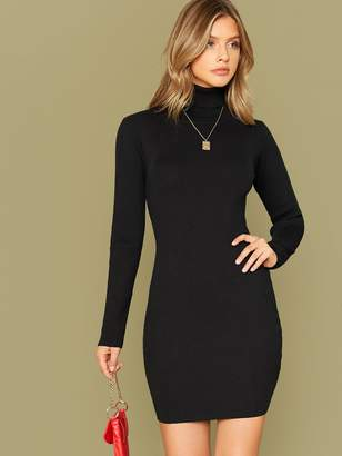Shein Solid Slim Sweater Dress Without Necklace