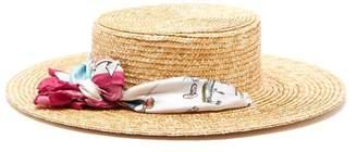 Filù Hats Filu Hats - Satin Scarf Straw Boater Hat - Womens - Pink