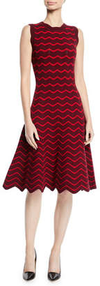 Milly Textured Wave Knit Flare Dress