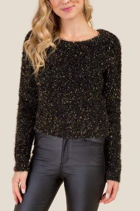 francesca's Haven Fuzzy Cropped Lurex Sweater - Black