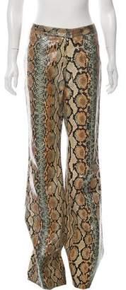 Gucci Python Mid-Rise Wide-Leg Pants